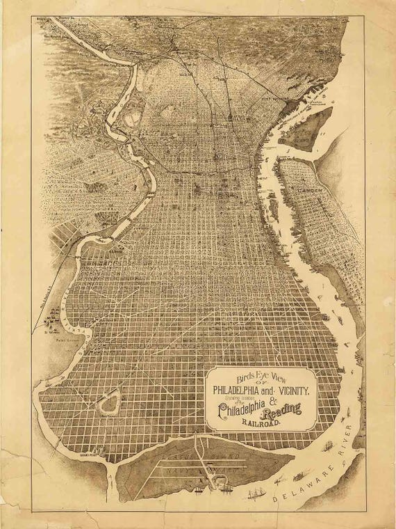Philadelphia Birds Eye View 1870