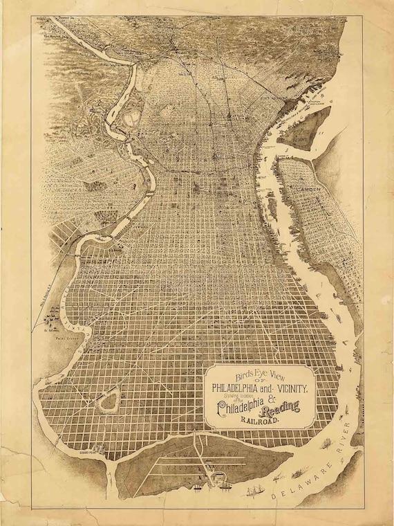 Philadelphia Birds Eye View 1870