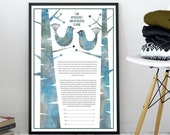 Modern Ketubah - Snow birds, mid century modern