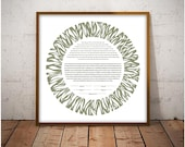 Contemporary Ketubah - Celebration #2 in Sage, Eggplant and Coral, Modern, Abstract