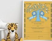 Digital Download- Brit Milah Certificate, Baby naming, Two Lions
