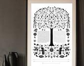 Contemporary Ketubah - Folk Art Tree of Life | Black and White | Minimal | Interfaith