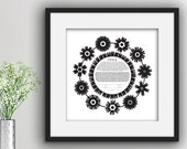 Contemporary Ketubah - Floral Wreath | Black and White | Minimal | Interfaith