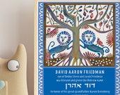 Jewish baby naming -Lions- Customized Print at Home digital download