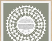 Contemporary Ketubah - Lace of Love Moss