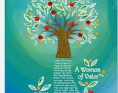 Woman of Valor, Eishet Chail, Tree of Life, Giclee print, English OR Hebrew