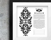Contemporary Ketubah - Pomegranate with birds | Black and White | Mid Century | Interfaith