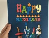 Happy Hanukkah Dreidels, decoration, Poster, DIY, Printable, Instant download