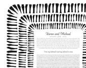 Contemporary Ketubah - Woven Dreams #2 | Black and White | Minimal | Interfaith