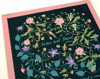Contemporary Ketubah - Wildflowers at Midnight