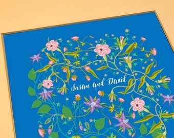 Contemporary Ketubah - Wildflowers over Blue