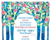 Jewish baby naming -Flowering tree- Customized Print at Home