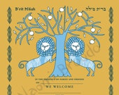 Digital Download- Brit Milah Certificate, Baby naming, Two Lions