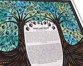 Contemporary Ketubah -Double  Pomegranate Tree of Love