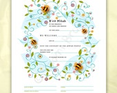Digital/Editable Download- Bris, B'rit Milah Certificate, Baby naming, bees