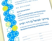 Personalized Bris, B'rit Milah Certificate, Star of David