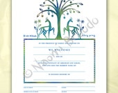 Digital/Editable download B'rit Milah Certificate, Biblical Animals and Flowers, pdf form, blue, green
