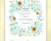 Digital/Editable Download- Simchat Bat Certificate, Baby naming, bees