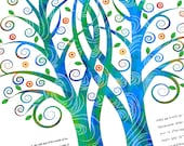 Ketubah - Double Tree Embrace in Blues