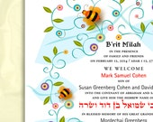 Personalized B'rit Milah/Simchat Bat Certificate, Bumble Bees