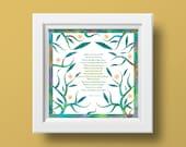 Encouragement quote, Make me Brave, Giclee print, Judaica