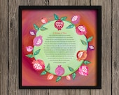 Woman of Valor, Eishet Chail, Pomegranate Wreath, Giclee print, English OR Hebrew