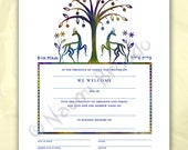 Digital/Editable download B'rit Milah Certificate, Biblical Animals and Flowers, pdf form, purple