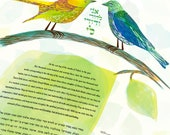 Ketubah - Love Birds in Yellow and Blue