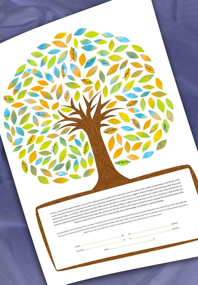 Ketubah: Signing Tree of life in full color  Ketubah Quaker image 0