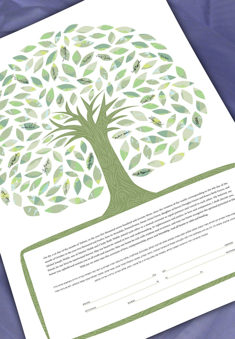Ketubah Tree of life in greens  Guest Signing image 0