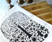 Shabbat Shalom Tea Towel Folkart Style   Judaica   Jewish Holiday