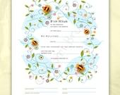 Digital/Editable Download- Bris, B'rit Milah Certificate, Baby naming, bees