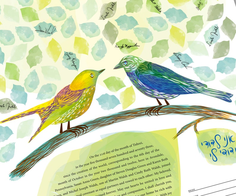 Signing Tree  Love Birds Ketubah Quaker Vows image 0