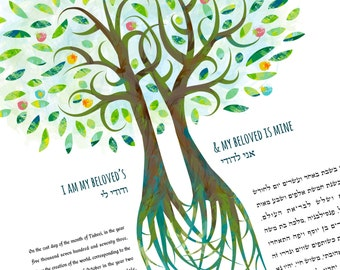 Ketubah - Double Tree of Love in Greens