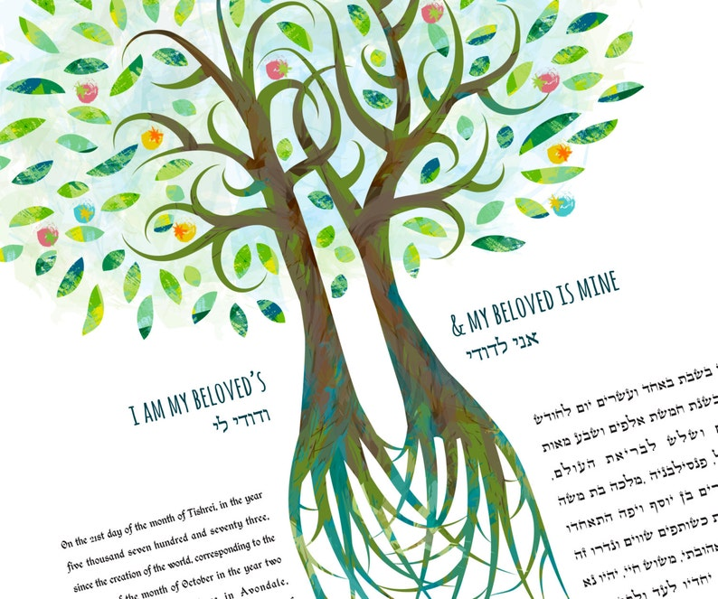 Ketubah  Double Tree of Love in Greens image 0