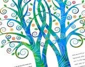 Ketubah - Double Tree Embrace in Blues
