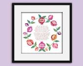 Jewish Home blessing, Pomegranate wreath, Giclee print, Graduation, Holiday gift, Wedding, birthday, Judaica