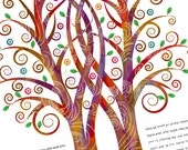 Fall Ketubah - Double Tree Embrace in Warm Tones