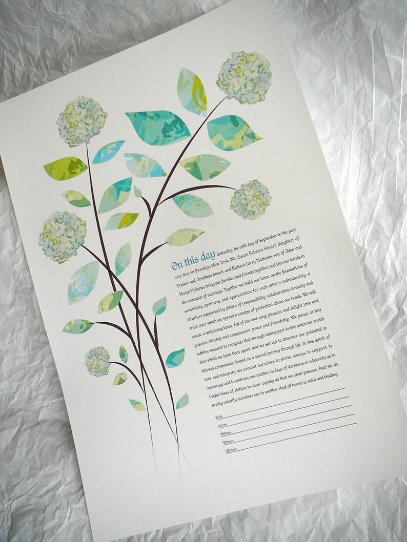 Contemporary Modern ketubah Hydrangea bouquet image 0
