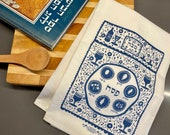 Passover Tea Towel Folkart Style   Judaica   Jewish Holiday