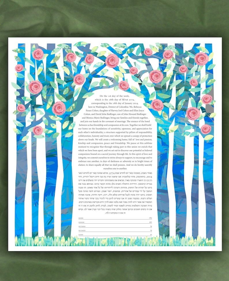 Ketubah  Summer Chuppah with Pink flowers image 0