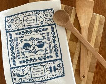 Shanah Tovah Tea Towel Folkart Style | Judaica | Jewish Holiday