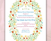 Personalized Baby Girl Birth Certificate Pomegranate Wreath with Yellow Flowers, Giclee or Canvas Wrap