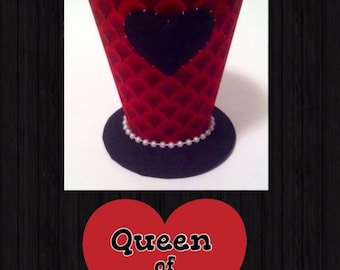 Black and red Queen of Hearts mini top hat. Portion of sale goes to charity.
