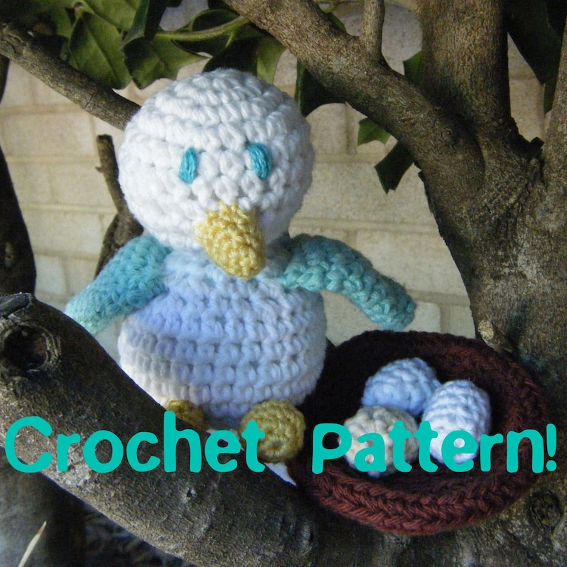 EMAILED PDF for European Buyers Amigurumi Toy Bird and Nest with Eggs  Crochet Pattern