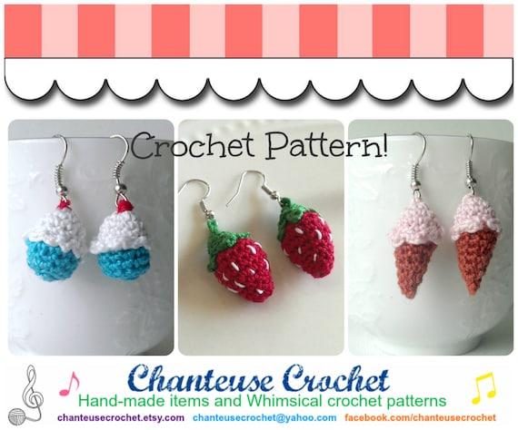 Micro Amigurumi Crocheted Earrings Pdf Pattern Instant Etsy