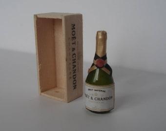 casa delle bambole bottiglia di champagne in miniatura,  bottiglia scala 1:1,  bottiglia vino in miniatura, cassa vino legno champagne