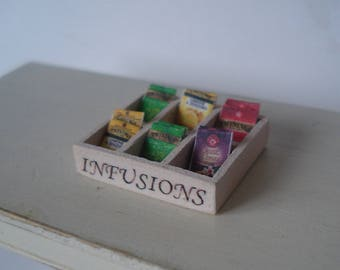 Dollshouse miniature tea box, miniature infusions box, dollshouse box, dollshouse tea, one inch  1:12th scale