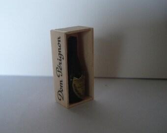 Dolllshouse miniature champagne  bottle, Champagne crate,  1:12 one inch scale bottle, Miniature wine bottle