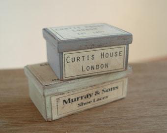 Dollshouse miniature  vintage boxes, miniature boxes, dollshouse box, miniature shop,  dollshouse box,  miniature box 1:12 one inch scale
